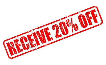 receive: RECEIVE 20% OFF red stamp text on white Stock Photo