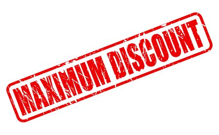 maximum: MAXIMUM DISCOUNT red stamp text on white Stock Photo