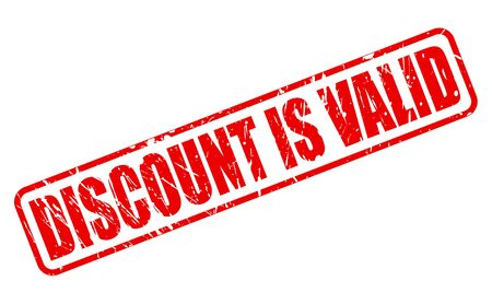 valid: DISCOUNT IS VALID red stamp text on white Stock Photo