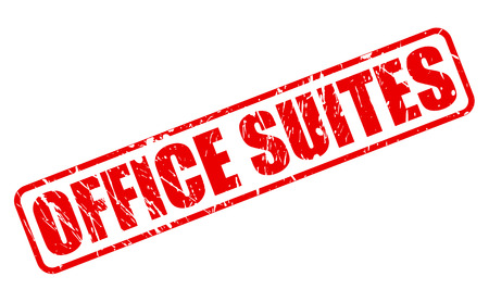 suites: OFFICE SUITES red stamp text on white