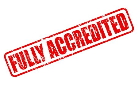 accredited: FULLY ACCREDITED red stamp text on white