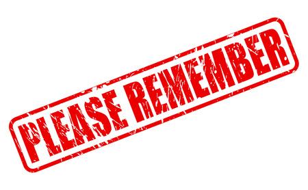 recordar: RECUERDE texto del sello rojo sobre blanco