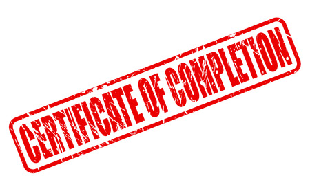 complement: CERTIFICATE OF COMPLETION red stamp text on white