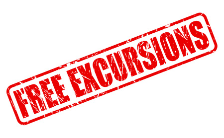 excursions: FREE EXCURSIONS red stamp text on white