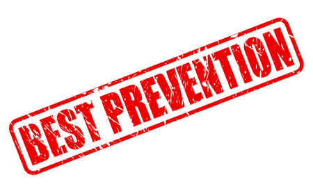 hindrance: BEST PREVENTION red stamp text on white Stock Photo