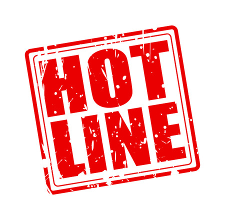 hot line: HOT LINE red stamp text on white Stock Photo