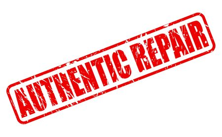 retrieval: AUTHENTIC REPAIR red stamp text on white Stock Photo