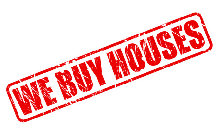 WE BUY HOUSES red stamp text on white Stock Photo
