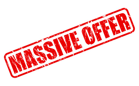 massive: MASSIVE OFFER red stamp text on white Stock Photo