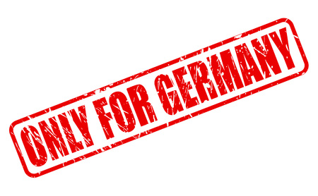 solely: ONLY FOR GERMANY red stamp text on white