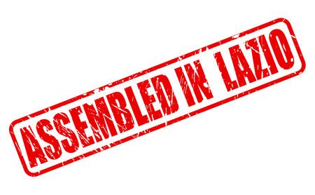 lazio: ASSEMBLED IN LAZIO red stamp text on white Stock Photo