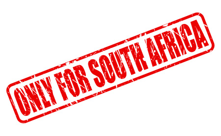 purely: ONLY FOR SOUTH AFRICA red stamp text on white Stock Photo