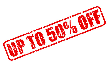 UP TO 50 PERCENT OFF red stamp text on white