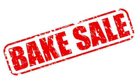 bake sale sign: BAKE SALE red stamp text on white