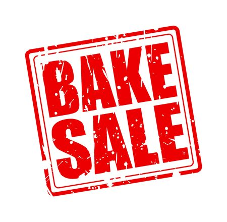 broil: BAKE SALE RED STAMP TEXT ON WHITE