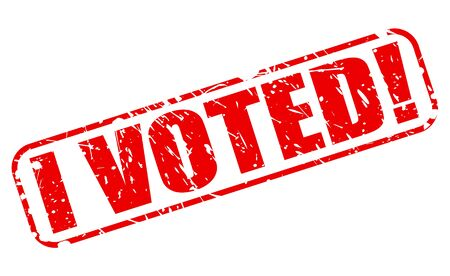 voted: I VOTED RED STAMP TEXT ON WHITE