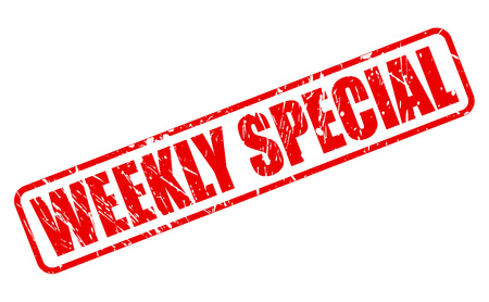 especial: WEEKLY SPECIAL RED STAMP TEXT ON WHITE