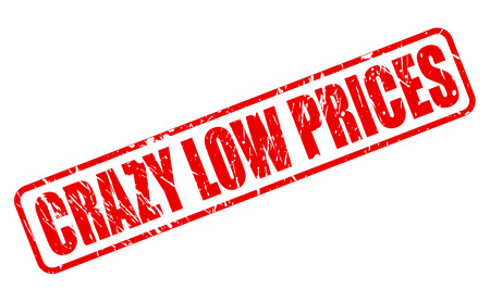 premonition: CRAZY LOW PRICES RED STAMP TEXT ON WHITE Illustration