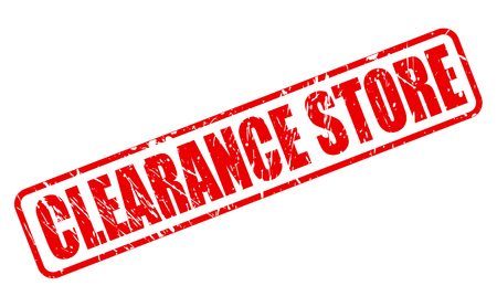 CLEARANCE STORE RED STAMP TEXT ON WHITE