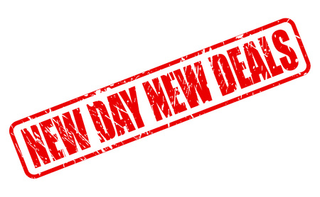 new day: NEW DAY NEW DEALS RED STAMP TEXT ON WHITE