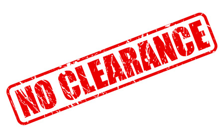 clearance: NO CLEARANCE RED STAMP TEXT ON WHITE