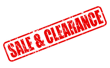 SALE AND CLEARANCE RED STAMP TEXT ON WHITE