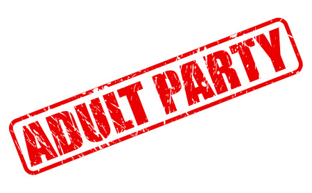 conviviality: ADULT PARTY RED STAMP TEXT ON WHITE Illustration