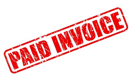 paid: PAID INVOICE on stamp text on white