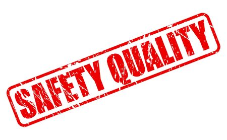 surety: SAFETY QUALITY red stamp text on white Illustration