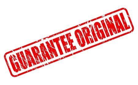 sponsorship: GUARANTEE ORIGINAL red stamp text on white