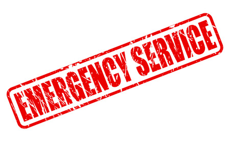 contingency: EMERGENCY SERVICE red stamp text on white