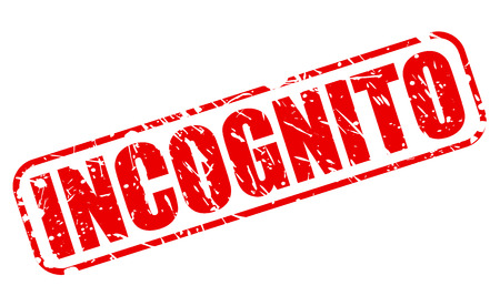 incognito: INCOGNITO red stamp text on white