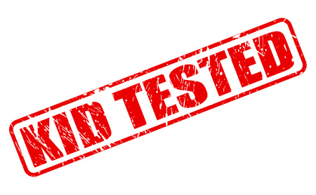 tested: KID TESTED red stamp text on white