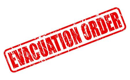injunction: EVACUATION ORDER VEGAN red stamp text on white