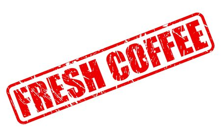 dewy: FRESH COFFEE red stamp text on white