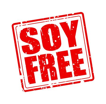 soy free: SOY FREE red stamp text on white