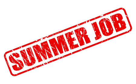 SUMMER JOB red stamp text on white 版權商用圖片 - 61953946
