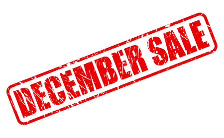 december: DECEMBER SALE red stamp text on white