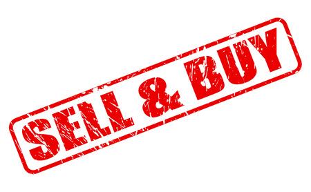 Kopen en verkopen rode stempel tekst op wit