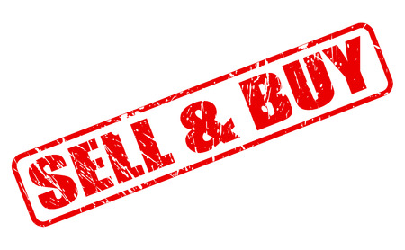 SELL AND BUY red stamp text on white