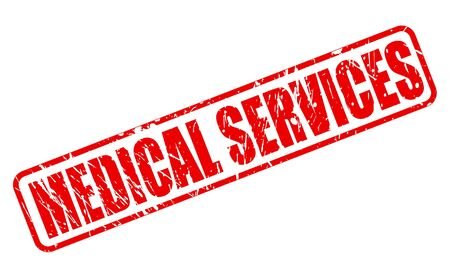 medicated: MEDICAL SERVICES red stamp text on white