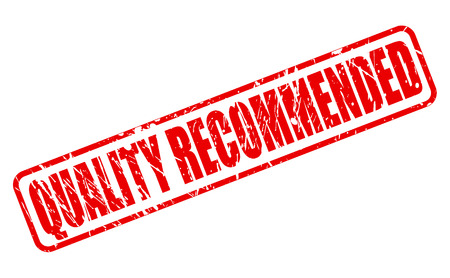 recommended: Quality recommended red stamp text on white Stock Photo