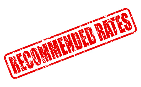 recommended: RECOMMENDED RATES red stamp text on white Stock Photo