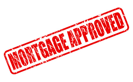 MORTGAGE APPROVED red stamp text on white 版權商用圖片 - 63524899