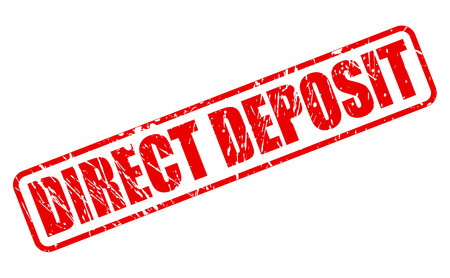 direct: DIRECT DEPOSIT red stamp text on white