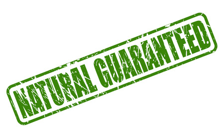 lifelike: NATURAL GUARANTEED green stamp text on white Illustration