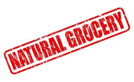 red stamp: NATURAL GROCERY red stamp text on white