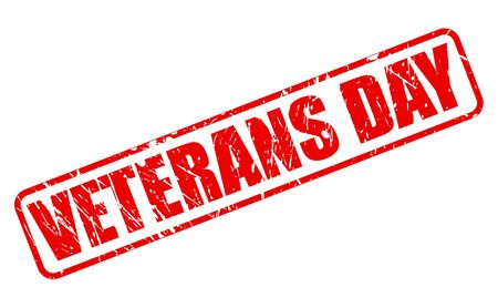 red stamp: VETERANS DAY red stamp text on white