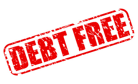 DEBT FREE red stamp text on white