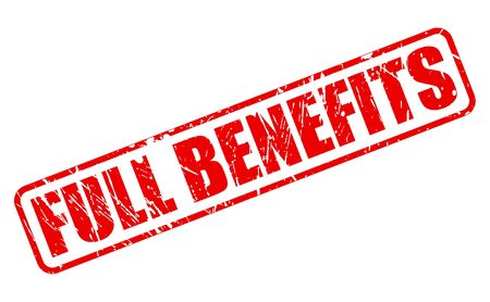 fully comprehensive: FULL BENEFITS red stamp text on white Illustration